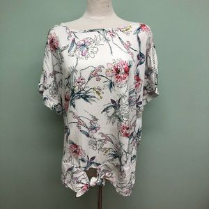 Buffalo | Womens' White Floral Tie T-Shirt
